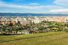 Krasnoyarsk aerial panoramic view Royalty Free Stock Images