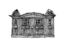 Architecture of the city of Krasnoyarsk. Black and white graphics, suitable for printed products. Krasnoyarsk city 6. Architecture of the city of Krasnoyarsk stock illustration