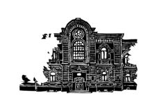 The building of the female gymnasium in Krasnoyarsk. Black and white graphics, suitable for printed products. stock illustration