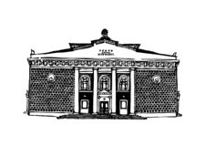 The building of the Pushkin Theater in Krasnoyarsk. Black and white graphics, suitable for printed products. Krasnoyarsk city 7. The building of the Pushkin stock illustration