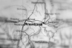 Krasnoyarsk, a city in Russia. Krasnoyarsk, a city in the Russian Federation selective black and white focus royalty free stock photography