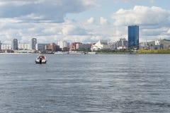 Krasnoyarsk city. On the Yenisei, boat on the river Stock Photos