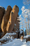 Krasnoyarsk, Feathers Rocks, winter morning Stock Photography