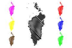 Krasnoyarsk Krai map vector. Krasnoyarsk Krai Russia, Subjects of the Russian Federation, Krais of Russia map vector illustration, scribble sketch Krasnoyarsk royalty free illustration