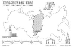 Krasnoyarsk main attractions. Krasnoyarsk Krai. Russian city with main attractions on a map. Editable vector illustration in black color on white background royalty free illustration