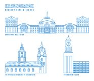 Krasnoyarsk main attractions. Russian city. Editable vector illustration in blue color isolated on a white background. Travelling, geography and architecture vector illustration