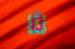 Krasnoyarsk realistic flag illustration. Usable for Background and Texture royalty free illustration