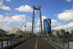 KRASNOYARSK. Pedestrian bridge over the Yenisei to the Tatyshev Island Royalty Free Stock Images