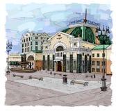 Krasnoyarsk railway station. Railway station, sights of Krasnoyarsk. Sightseeing of Krasnoyarsk royalty free illustration