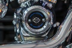 Krasnoyarsk, Rosja - 24 2018 Listopad: Szczegół i logo Harley-Davidson zdjęcia royalty free