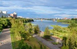 View of Communal bridge across the Yenisei river. Krasnoyarsk, Russia. Krasnoyarsk, Russia- August 9, 2017: View of Communal bridge across the Yenisei river Royalty Free Stock Images