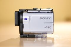 KRASNOYARSK, RUSSIA - February 09, 2018: Sony FDR-X3000. White a. Ction camera. Underwater case Stock Photos