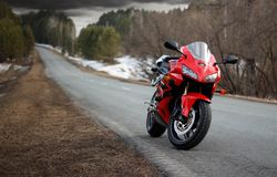 KRASNOYARSK, RUSSIA - March 16, 2019: Red and black sportbike Honda CBR 600 RR 2005 PC37 royalty free stock images