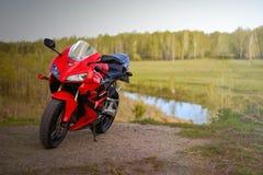 KRASNOYARSK, RUSSIA - MAY 25, 2018: Red and black sportbike Honda CBR 600 RR 2005 PC37.  royalty free stock photography