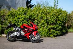 KRASNOYARSK, RUSSIA - MAY 25, 2018: Red and black sportbike Honda CBR 600 RR 2005 PC37.  stock photography