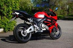 KRASNOYARSK, RUSSIA - MAY 25, 2018: Red and black sportbike Honda CBR 600 RR 2005 PC37.  stock images