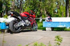 KRASNOYARSK, RUSSIA - MAY 25, 2018: Red and black sportbike Honda CBR 600 RR 2005 PC37.  stock photos