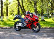 KRASNOYARSK, RUSSIA - MAY 25, 2018: Red and black sportbike Honda CBR 600 RR 2005 PC37. ÑŽ stock images