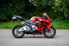 KRASNOYARSK, RUSSIA - MAY 25, 2018: Red and black sportbike Honda CBR 600 RR 2005 PC37.  royalty free stock image