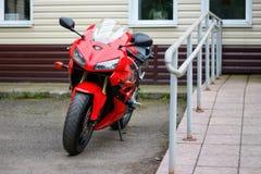 KRASNOYARSK, RUSSIA - MAY 25, 2018: Red and black sportbike Honda CBR 600 RR 2005 PC37.  stock photo