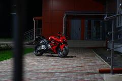 KRASNOYARSK, RUSSIA - MAY 25, 2018: Red and black sportbike Honda CBR 600 RR 2005 PC37.  royalty free stock photos
