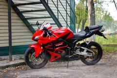 KRASNOYARSK, RUSSIA - MAY 25, 2018: Red and black sportbike Honda CBR 600 RR 2005 PC37 stock photo