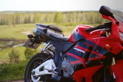 KRASNOYARSK, RUSSIA - MAY 25, 2018: Red and black sportbike Hond Royalty Free Stock Images