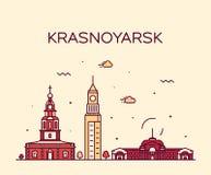 Krasnoyarsk skyline Krai Russia vector line style. Krasnoyarsk skyline, Krasnoyarsk Krai, Russia. Trendy vector illustration linear style royalty free illustration