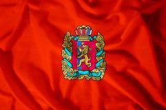 Krasnoyarsk. Stylish waving and closeup flag illustration. Perfect for background or texture purposes stock illustration