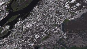 Krasnoyarsk ?versikt i isometriska v?gar och byggnader f?r landskap 3d royaltyfri illustrationer