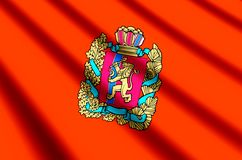 Krasnoyarsk colorful waving and closeup flag illustration. Perfect for texture and background vector illustration
