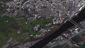Krasnoyarskkaart in 3d isometrische landschapswegen en gebouwen vector illustratie