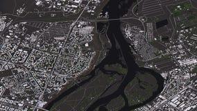 Krasnoyarskkaart in 3d isometrische landschapswegen en gebouwen royalty-vrije illustratie
