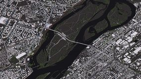 Krasnoyarskkaart in 3d isometrische landschapswegen en gebouwen stock illustratie