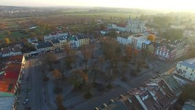 Krasnystaw, Poland, aerial view. Krasnystaw, aerial view, lubelskie, Poland, flight over the city, sunset, market square stock video footage