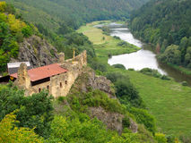 Krasov castle over Berounka river. Royalty Free Stock Photo