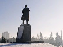Krasoyarsk对列宁的纪念碑 库存照片