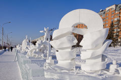 Krasoyarsk IV international festival - competition of snow and i. IV international festival - competition of snow and ice sculptures The magical ice of Siberia Stock Images