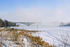 Krasoyarsk Kommunalnii the bridge. Winter Krasoyarsk Kommunalnii the bridge the Yenisei river January 2016 Royalty Free Stock Photography
