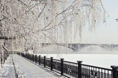 Krasoyarsk Kommunalnii il ponte Fotografia Stock