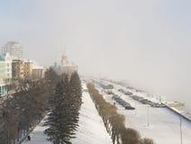 Krasoyarsk river station in winter. 2016 january Royalty Free Stock Image