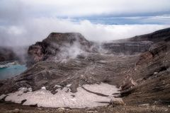 Krater av den Gorely vulkan royaltyfria bilder