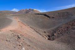 Krater av Etna skapade vid utbrott i 2002 Fotografering för Bildbyråer
