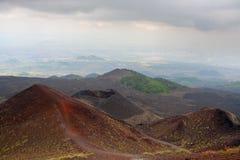 krater etna italy sicily Royaltyfria Bilder