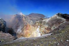 krater etna sicily Arkivfoton