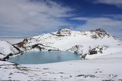 Krater för Mt. Ruapehu sjö Arkivbild