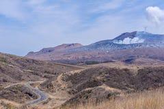 Krater góra Naka lub Aso góra jest wielkim aktywnym volca Obraz Royalty Free