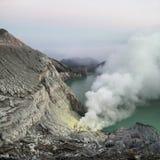 krater ijen Royaltyfri Bild