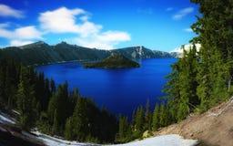 Krater jezioro, Oregon na słonecznym dniu Zdjęcie Stock