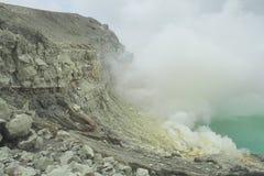 Krater Kawah Ijen - Oost-Java Royalty-vrije Stock Afbeeldingen